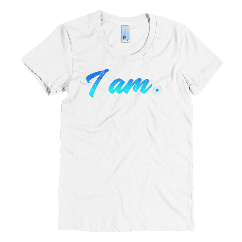"""I Am"" (neon blue logo) women's crew neck t-shirt"