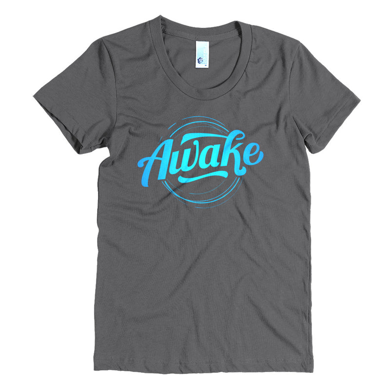 """Awake"" (neon blue logo) women's crew neck t-shirt"