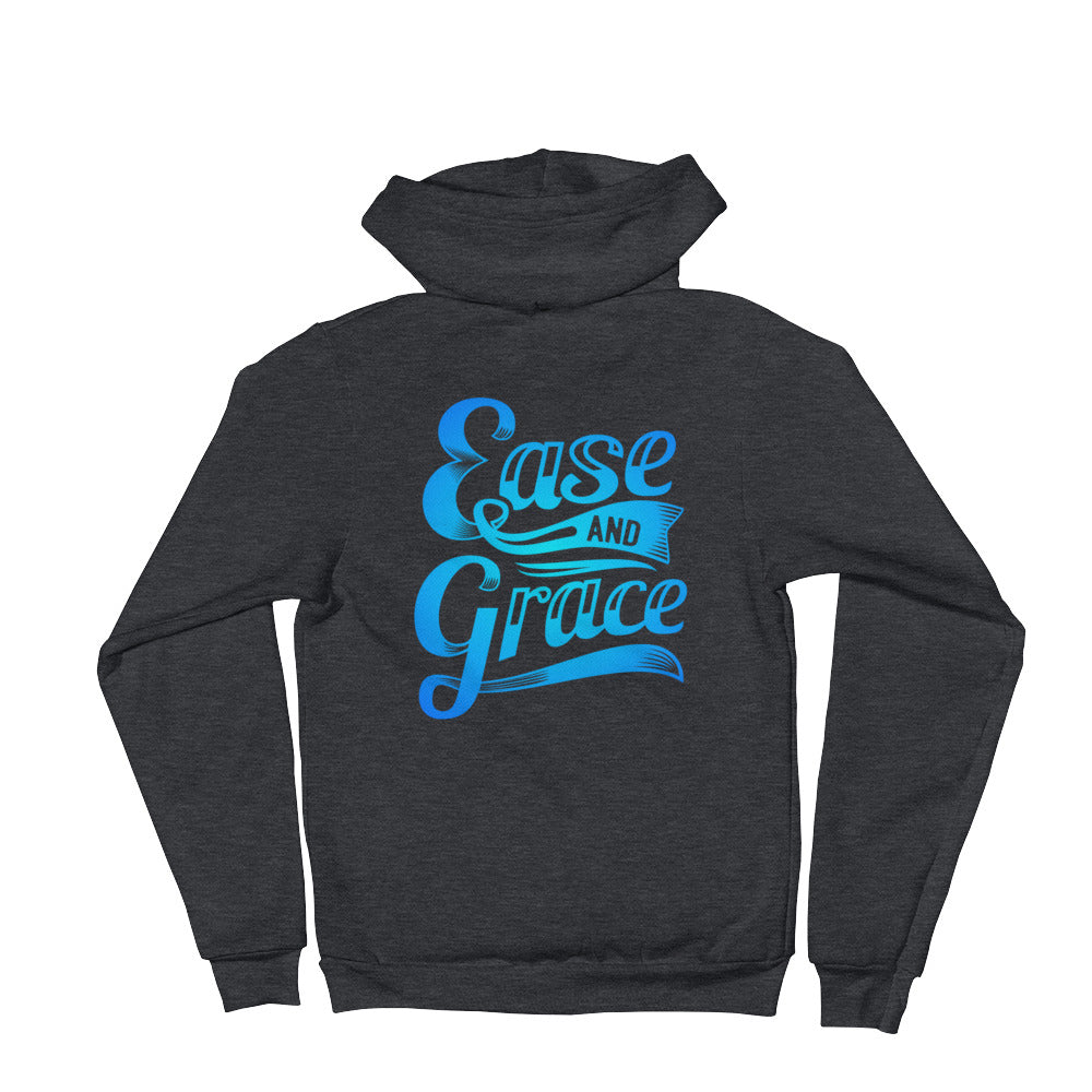 """Ease and Grace"" (neon blue logo) unisex hoodie sweater"