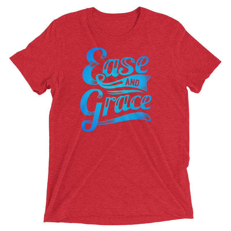 """Ease and Grace"" (neon blue logo) men's/unisex short sleeve t-shirt"