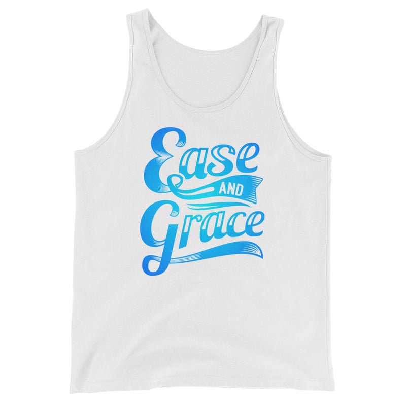 """Ease and Grace"" (neon blue logo) men's/unisex tank top"