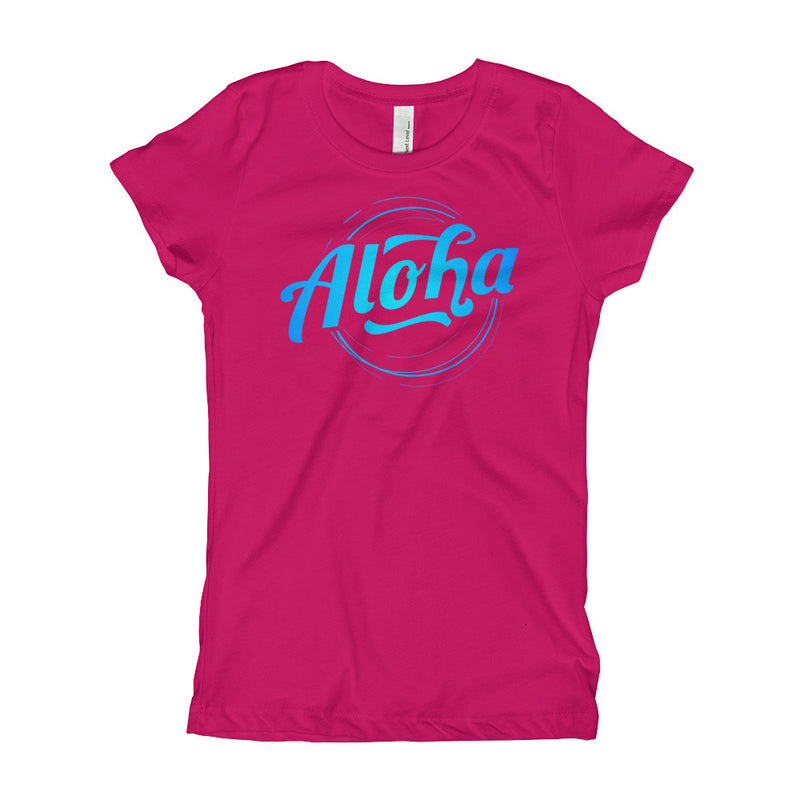 """Aloha"" (neon blue logo) girl's t-shirt"