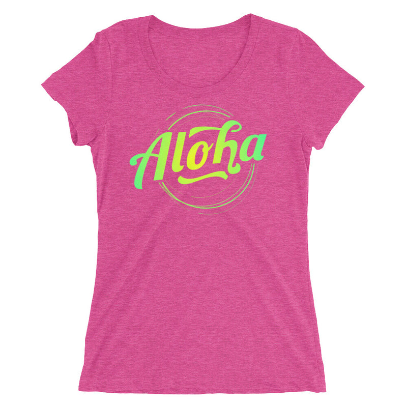 """Aloha"" (neon green logo) women's t-shirt"