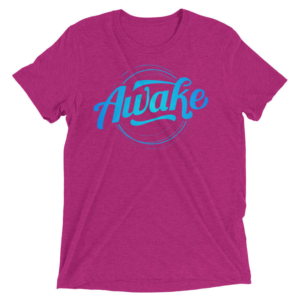 """Awake"" (neon blue logo) short sleeve men's t-shirt"