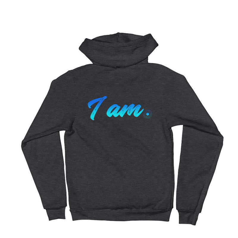 """I Am"" (neon blue logo) unisex hoodie sweater"