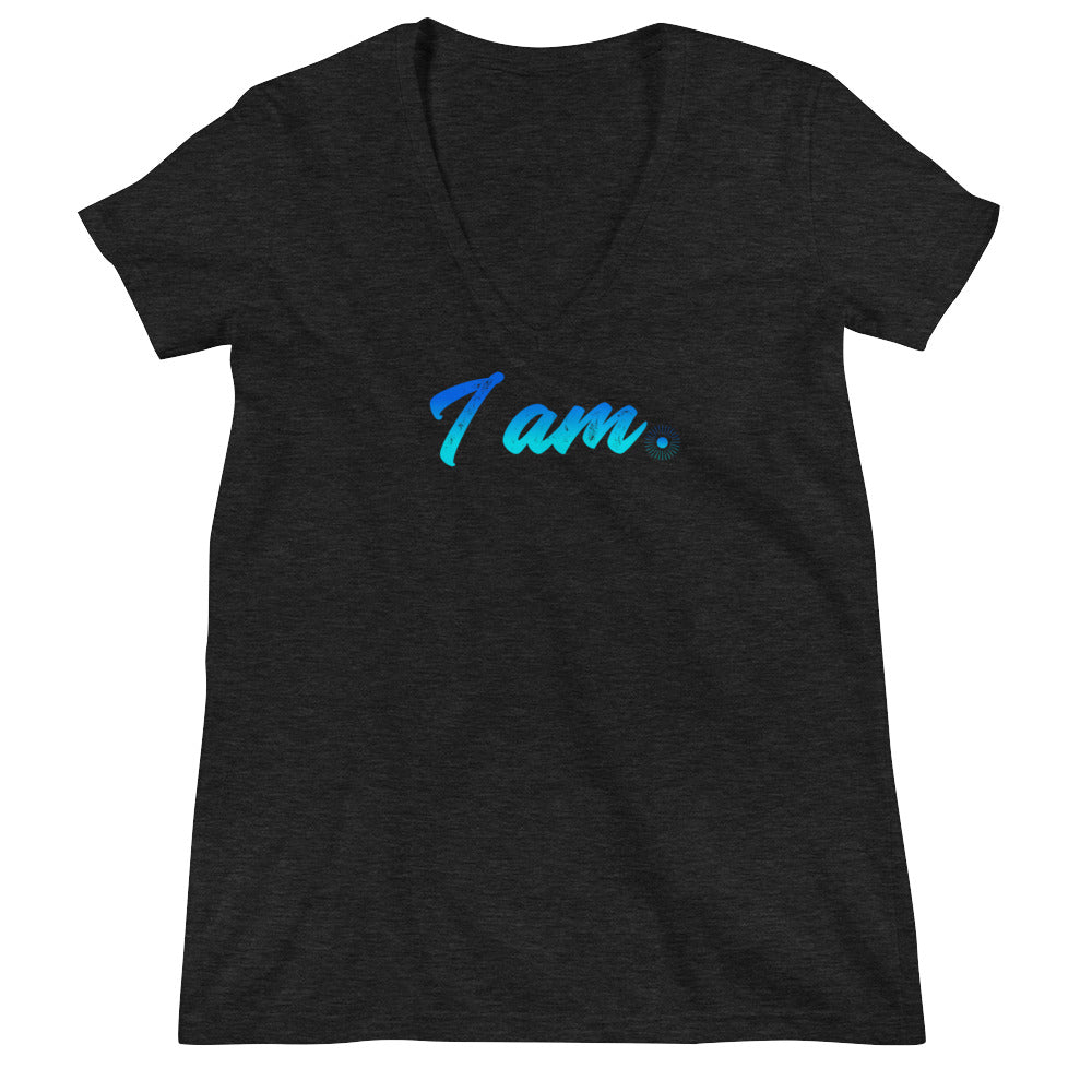 """I Am"" (neon blue logo) women's deep V-neck t-shirt"
