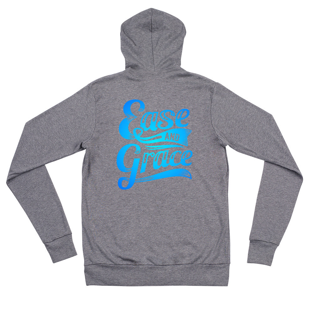 """Ease and Grace"" (neon blue logo) unisex zip hoodie"