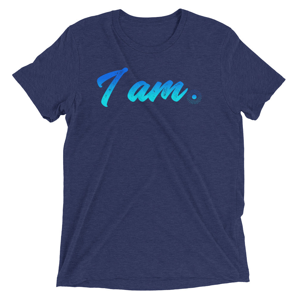 """I Am"" (neon blue logo) men's/unisex short sleeve t-shirt"