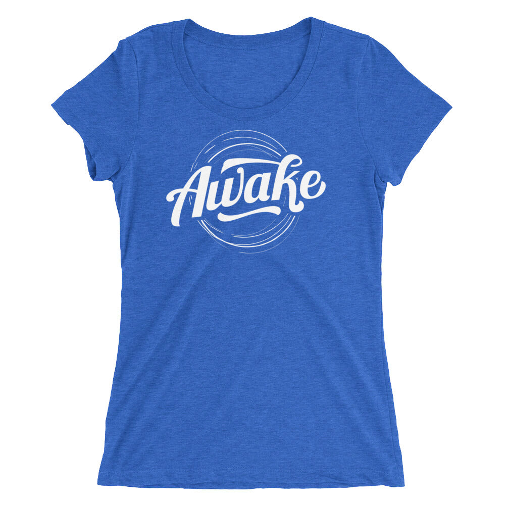 """Awake"" (white logo) women's short sleeve t-shirt"