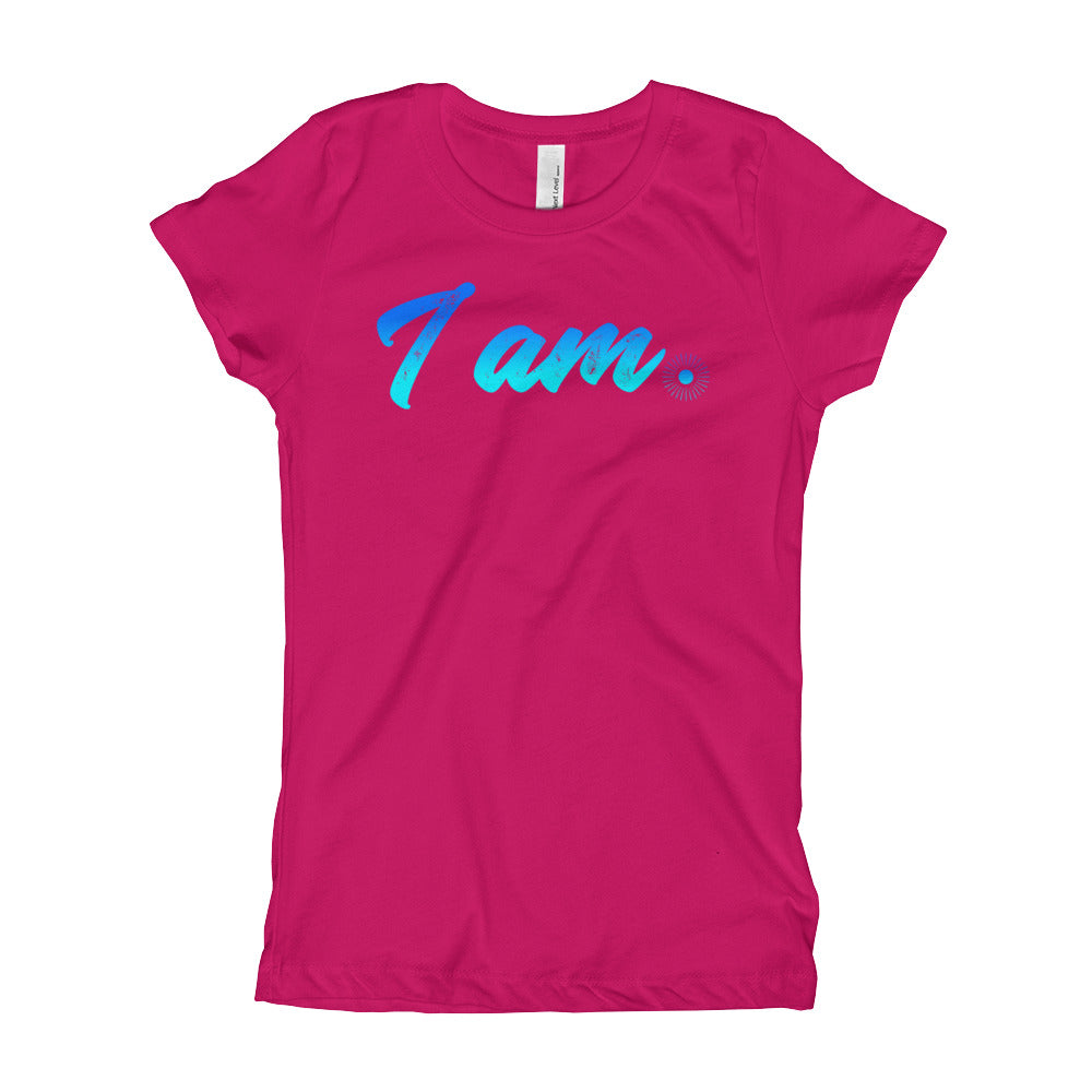 """I Am"" (neon blue logo) girl's t-shirt"