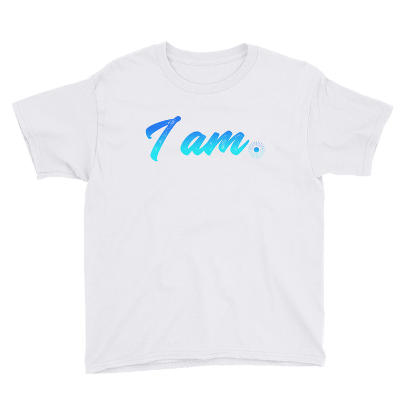 """I Am"" (neon blue logo) boy's t-shirt"