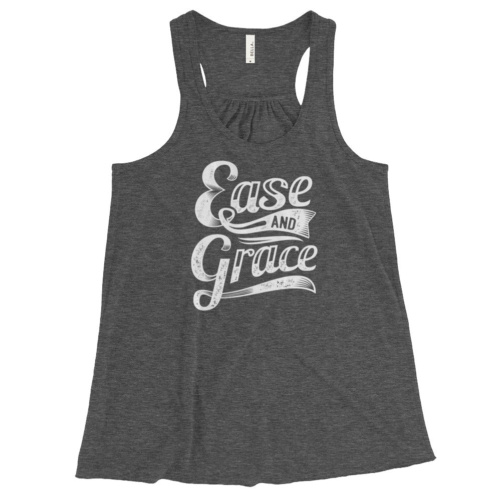 """Ease and Grace"" (white logo) women's flowy racerback tank"