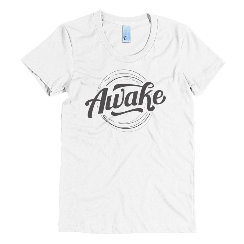 """Awake"" (black logo) women's crew neck t-shirt"