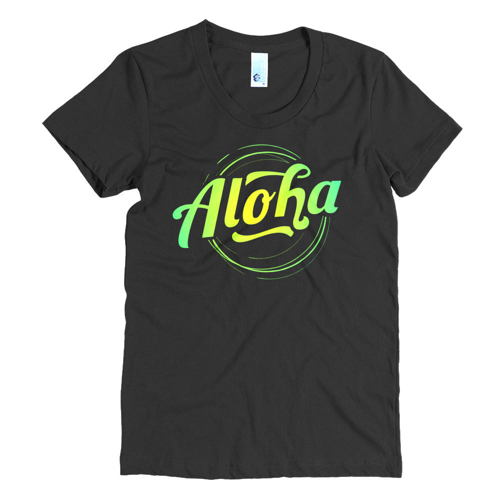 """Aloha"" (neon green logo) women's crew neck t-shirt"