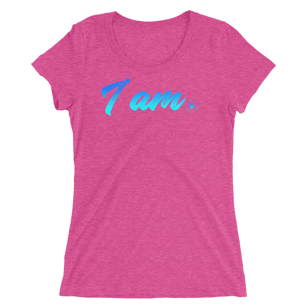 """I Am"" (neon blue logo) women's short sleeve t-shirt"