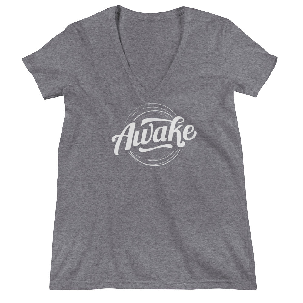 """Awake"" (white logo) women's deep V-neck t-shirt"