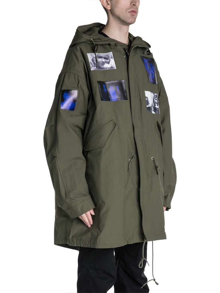 Raf Simons 19F/W Fur Lined Parka With Blue Velvet Patches