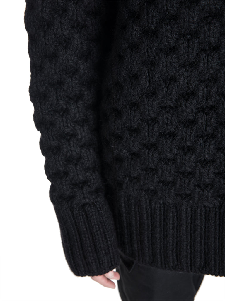 Raf Simons Oversized Cable Knit Sweater with Rings