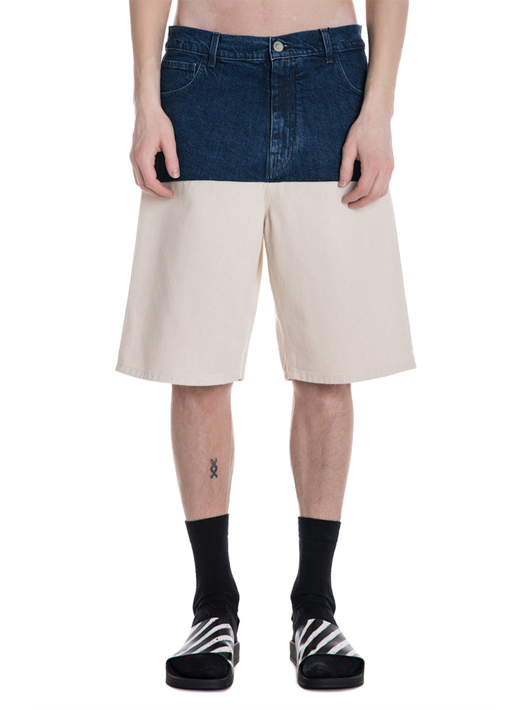 Raf Simons Wide Denim Shorts with Horizontal Cut