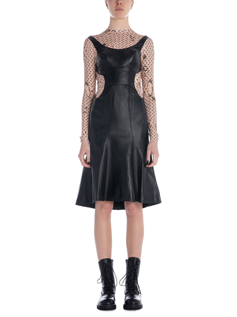 Marine Serre Leather And Moon Hybrid Dress
