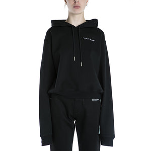 Off White Quotes Cropped Hoodie