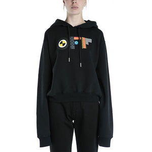 Off White Flags Cropped Hoodie