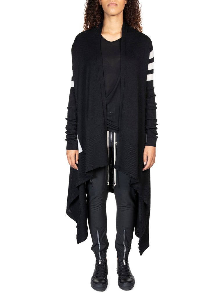 Rick Owens Long Striped Wrap Cardigan
