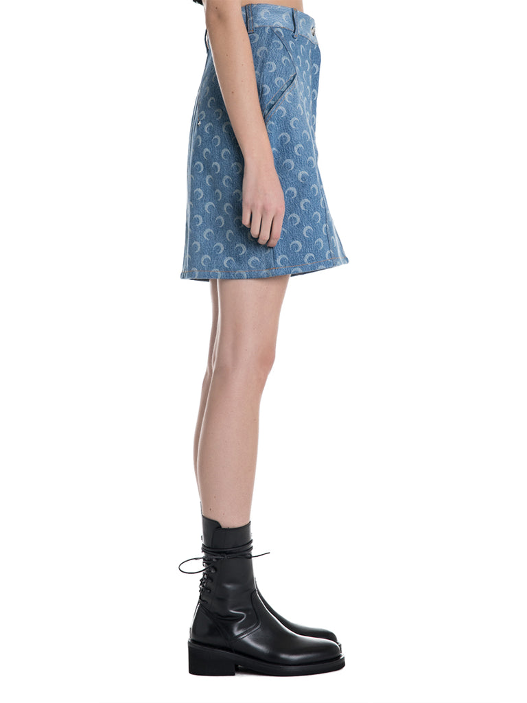 Marine Serre Moon Denim Mini Skirt