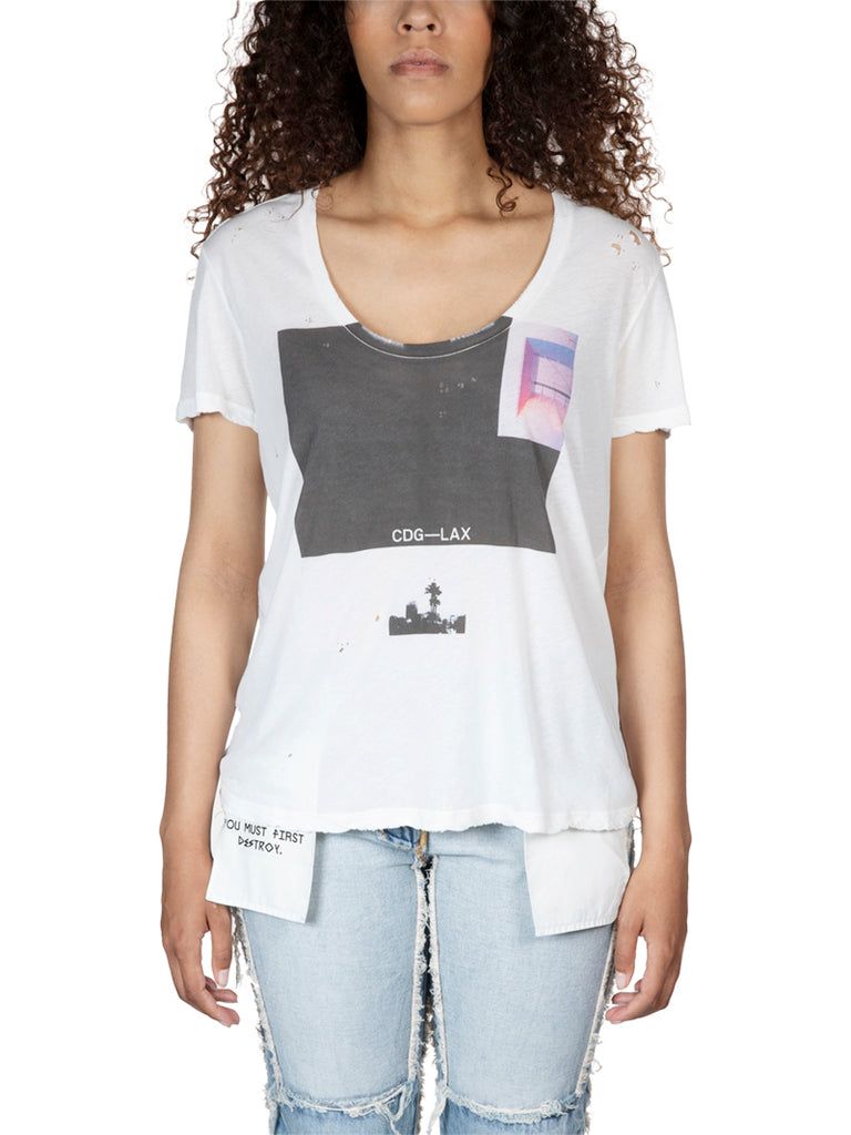 Unravel Project Square Print Destroyed Tee