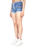 Unravel Project Vintage Chaos Denim Lace Up Shorts