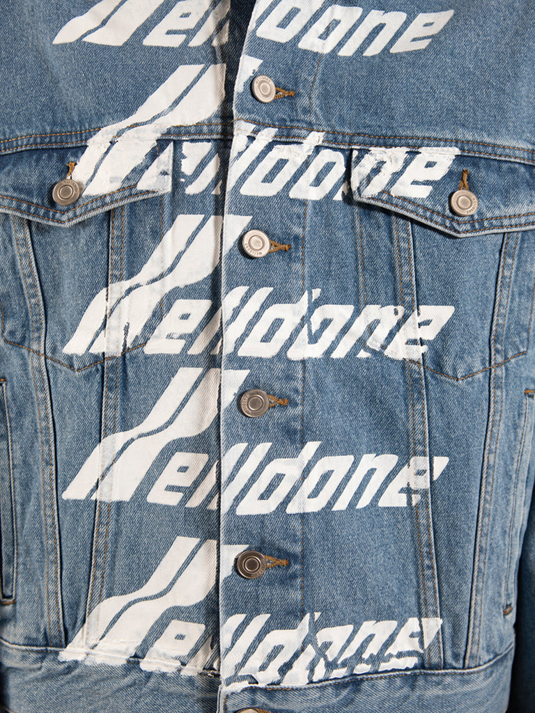 WE11DONE Cropped Denim Jacket with Logos