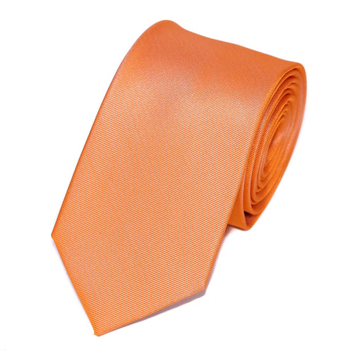 cravate homme orange unie en soie