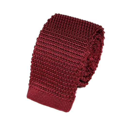 cravate tricot bordeaux unie en soie
