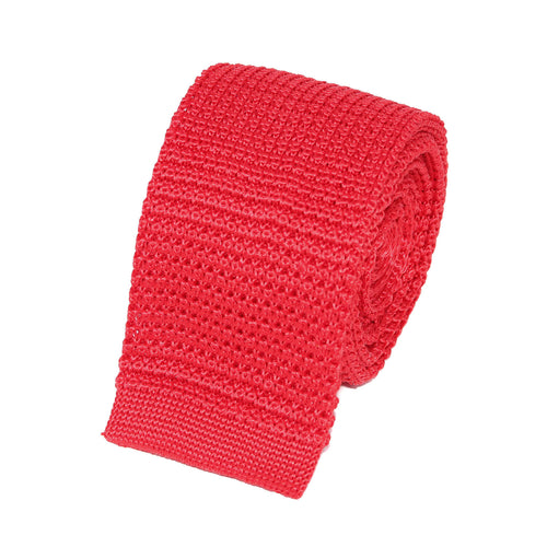 cravate tricot rouge unie en soie