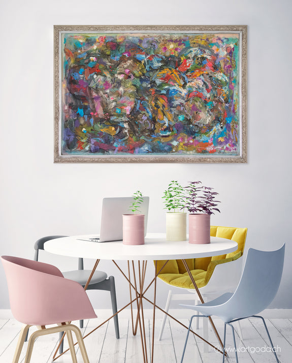 Abstract painting in interior by Lithuanian artist Aloyzas Smilingis-Elis
