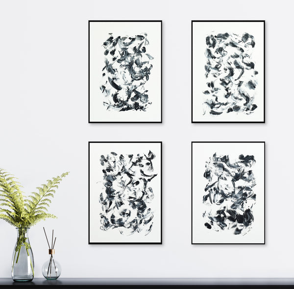 Abstract Paintings | Four Black & White Dreams