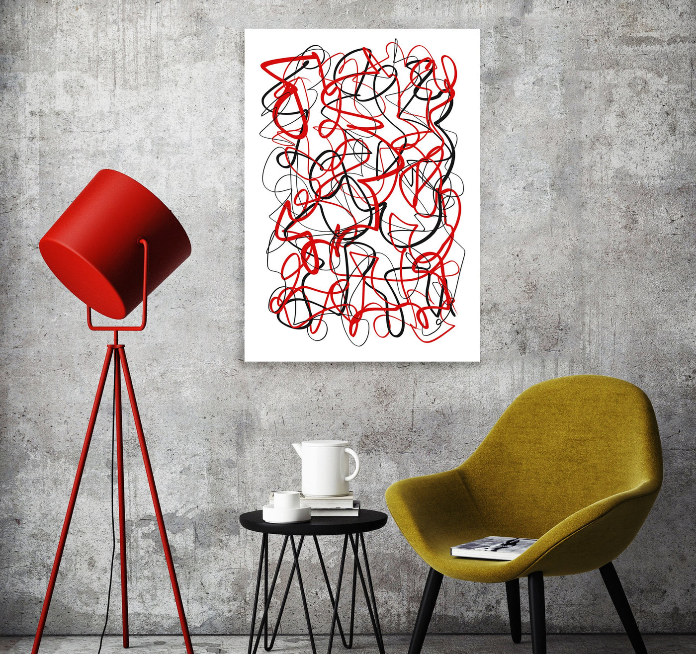 printable wall art black and red abstract
