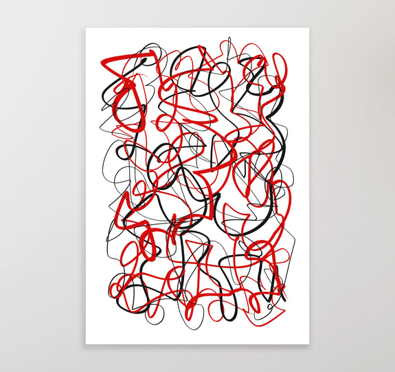Printable wall art , abstract black and red