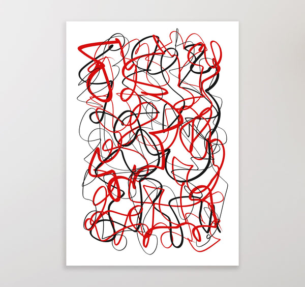 Printable art, blue and red