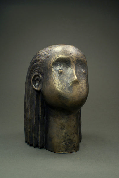 Contemporary bronze sculpture - portrait of a girl