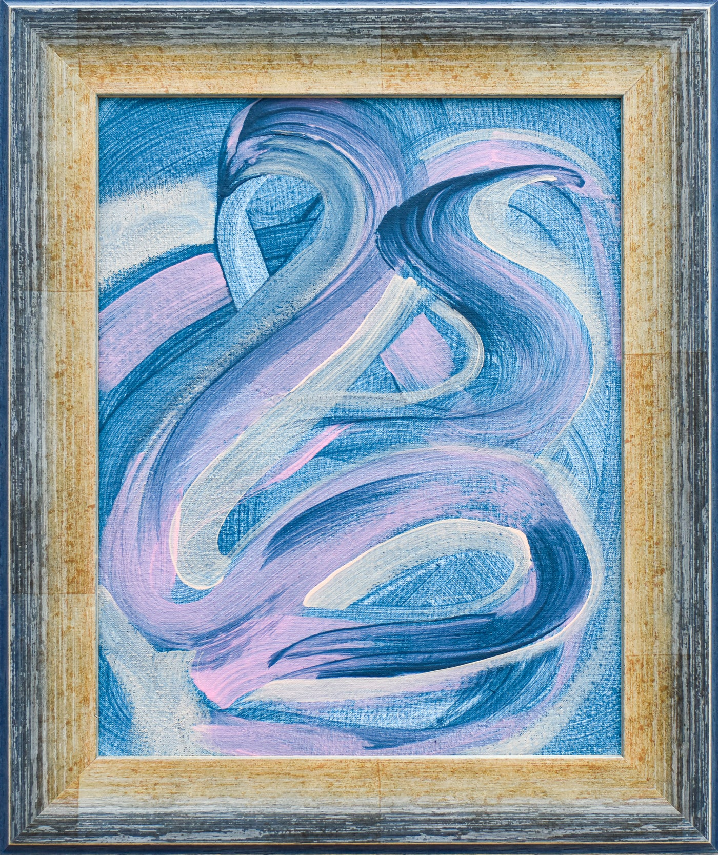 Framed Blue abstract painting for sale