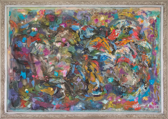 Large framed abstract painting for sale