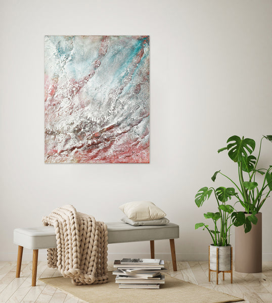 Large textured turquoise painting in interior