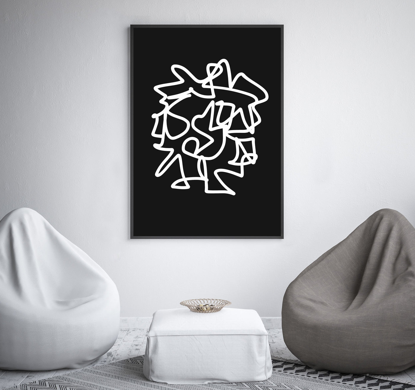 Printable wall art black and white digital linear drawing