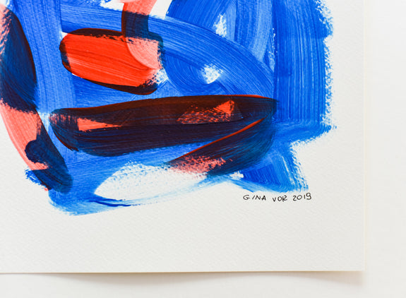 Original art on paper - blue and red abstract artwork