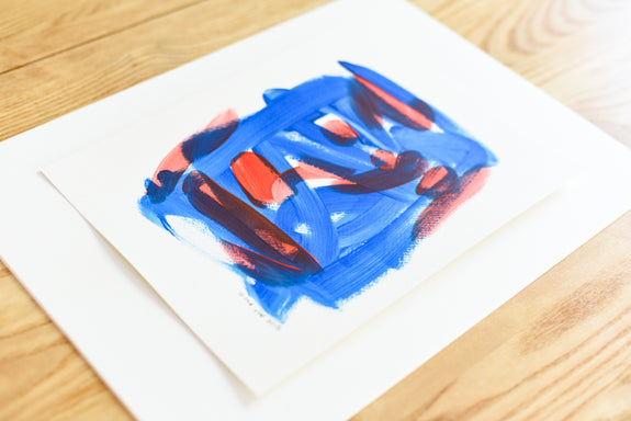 Abstract art on paper - contemporary blue and red painting
