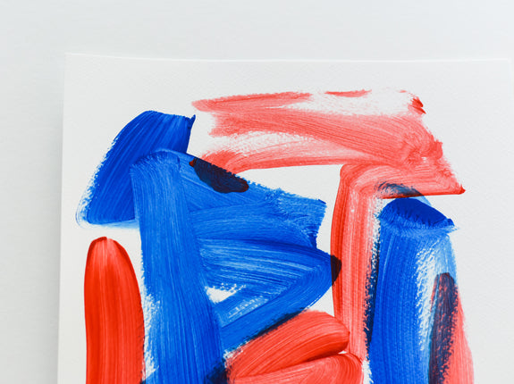 Blue and red abstract art - contemporary artwork on paper