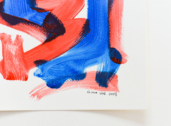 Original abstract art on paper by artist Gina Vor