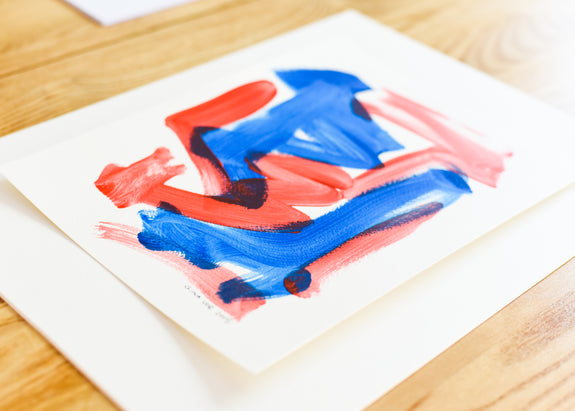 Art on paper - abstract blue and red painting - modern artwork