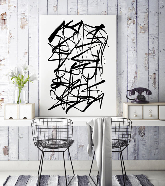 abstract black and white printable art